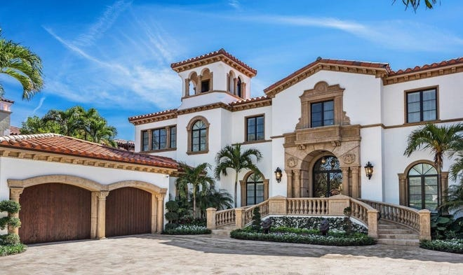 Recently renovated, a Mediterranean-style house at 120 Clarendon Ave. in Palm Beach has just changed hands for a recored $22.713 million after being listed in Feburary at $22.9 million.