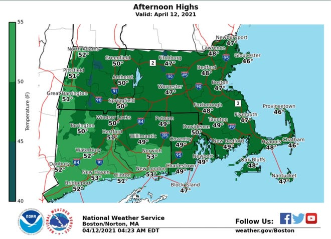 Expect a high of about 50 this afternoon in Providence, the National Weather Service says.