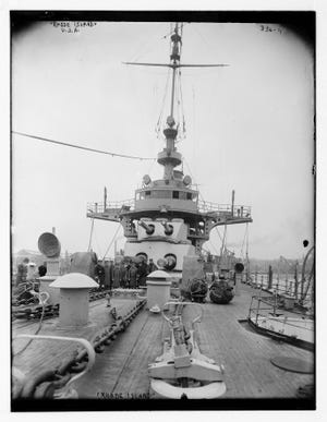 Photo of the USS Rhode Island battleship.  It was launched in 1904 and served until 1920.  Library of Congress