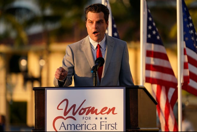 "Congressman Matt Gaetz, R-Fla., speaks at ""Women for America First"" event in early April."