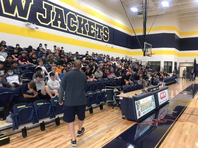Stephenville High School's chapter of Fellowship of Christian Athletes recently met to receive a message from Stephenville native Cody Davis. An SHS graduate, Davis helped lead the school to a combined 33-5 record during his three years as a starter in the defensive backfield. He was signed as an undrafted free agent by the St. Louis Rams in 2013. He also played for the Jacksonville Jaguars. He played college football at Texas Tech and now plays safety for the New England Patriots.