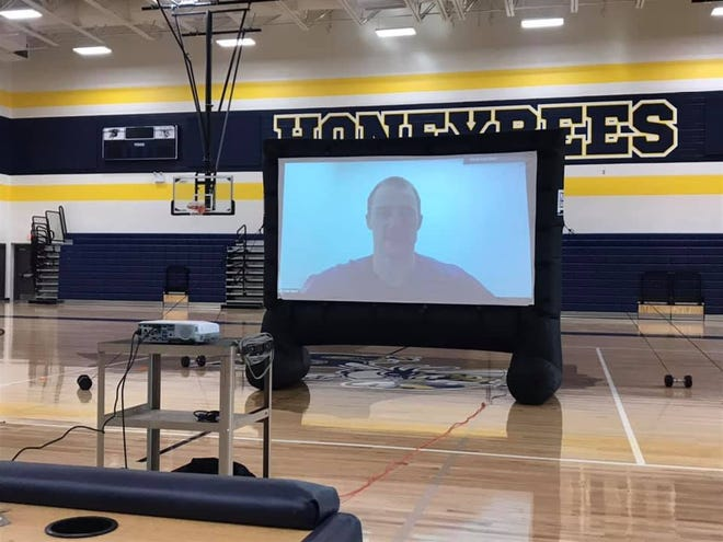 Stephenville High School graduate Cody Davis, who now plays for the New England Patriots, virtually delivers a message to the school's Fellowship of Christian Athletes recently.