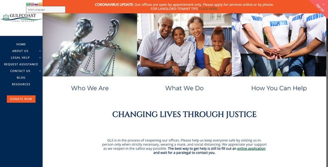 Gulfcoast Legal Services website, gulfcoastlegal.org.