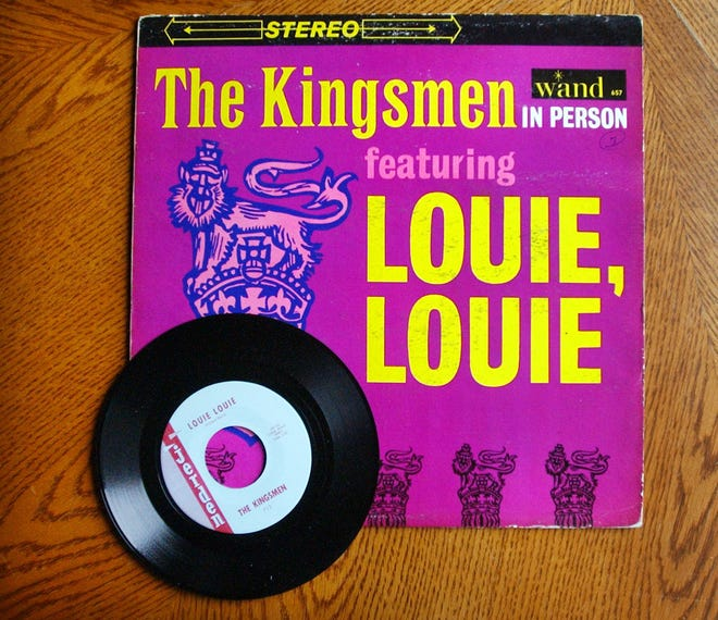 """An album and single of the hit recording """"Louie Louie,"""" on the Internet site eBay, as seen in December 2003."""