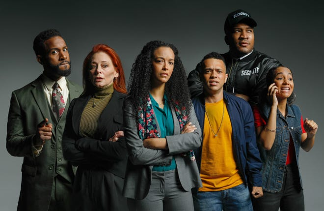 """From left, Joel PE King, Emilia Sargent, Renata Eastlick, Donovan Whitney, Isaac Esau Gay and Emerald Rose Sullivan star in the Westcoast Black Theatre Troupe production of """"Pipeline"""" by Dominique Morisseau."""