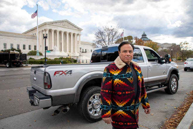 This undated image provided by the Institute for Justice shows Gerardo Serrano outside the Supreme Court building in Washington. Serrano ticked off the border crossing agents by taking some photos on his phone. So they took his pickup truck and held onto it for more than two years. Only after Serrano filed a federal lawsuit did he get back his Ford F-250. Now he wants the Supreme Court to step in and require a prompt court hearing as a matter of constitutional fairness whenever federal officials take someone's property under civil forfeiture law.(Institute for Justice via AP)