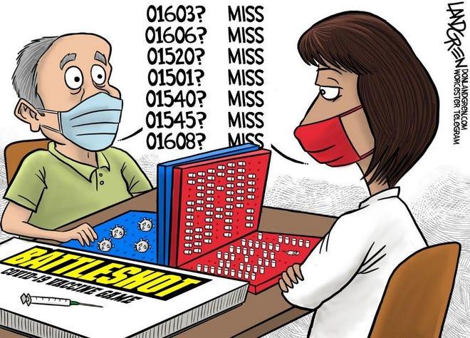 Landgren cartoon: Game of Battleshot. Don Landgren cartoon on COVID-19 vaccines.