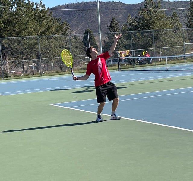 Tommy Henry of the Yreka High boys tennis team.