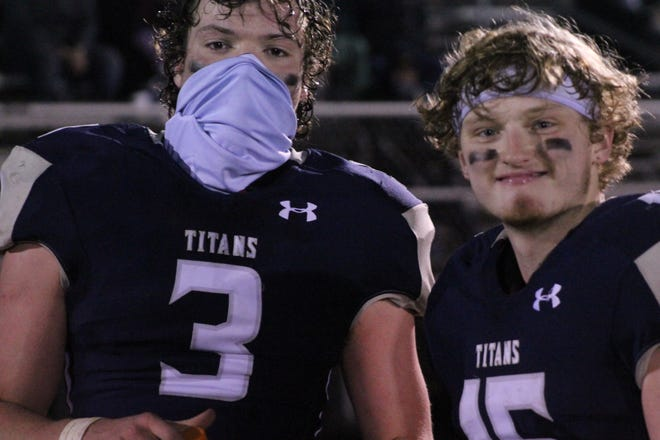 Annawan-Wethersfield tight end Tuker Miller (3) and receiver Reece Gripp (15) have accepted new roles within the offense, which made personnel changes after a loss to Ridgewood in Week 3. A-W beat Stark County on Friday to put its season record at 3-1.