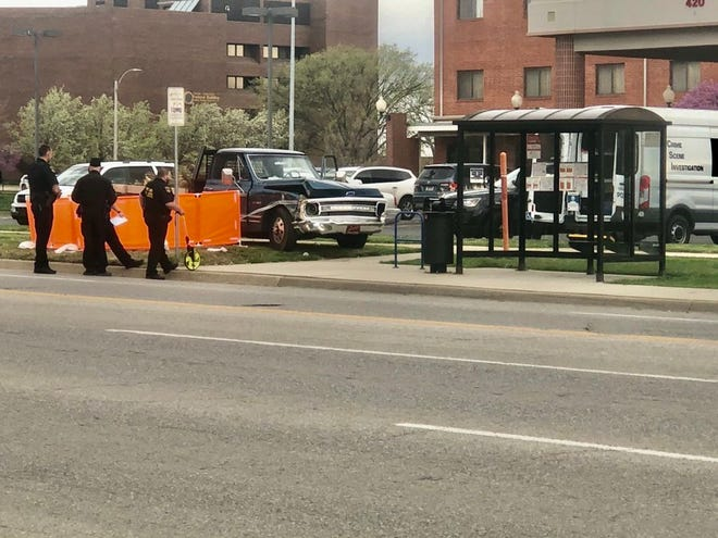 Topeka police investigated Monday morning at the scene of a fatal crash in front of the Ramada Hotel and Convention Center, 420 S.E. 6th Ave.