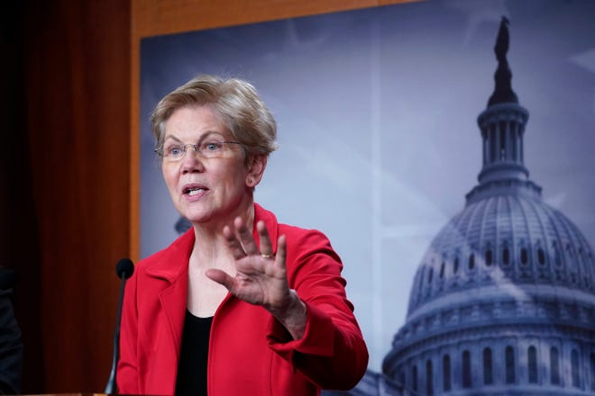 Sen. Elizabeth Warren, D-Mass., speaks during a news conference on Capitol Hill in Washington on March 1 to unveil a proposed Ultra-Millionaire Tax Act.