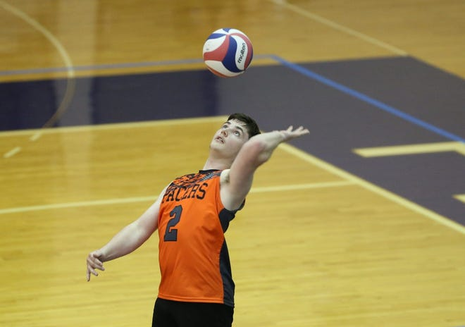 """Junior libero Isaac Robinson is one of the main contributors for Delaware Hayes, which is having a transition season. """"This year is more so about honing in on all those skills we missed last year,""""coach Jacob Hackathorn said."""