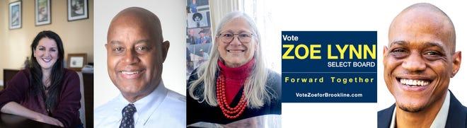 Brookline's 2021 Select Board candidates. From left: Miriam Aschkenasy, Bernard Greene, Nancy Heller, Zoe Lynn (not pictured), Donelle O'Neal.