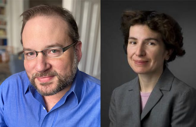 Steven Ehrenberg and Valerie Frias, the 2021 candidates for Brookline's open one-year School Committee seat.