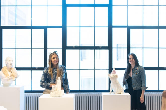 """Sarah Connell Sanders and Molly O'Connor visit ArtsWorcester to reflect on the cohesive work of three artists in """"They Travel Together."""""""