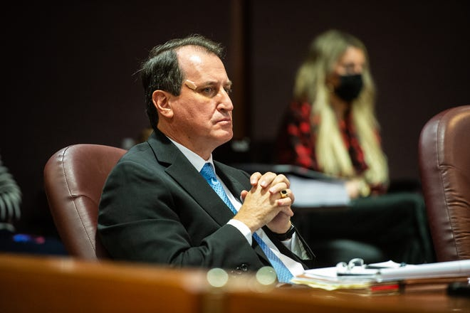 District attorney Greg Newman listens to testimony from Superior Court judge Athena Brooks on Monday, April 12, 2021.