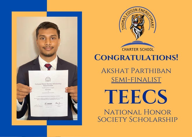 Akshat Parthiban, a senior at Thomas Edison SmartEnergy Charter School, is one of 575 semifinalists receiving a National Honor Society (NHS) scholarship.
