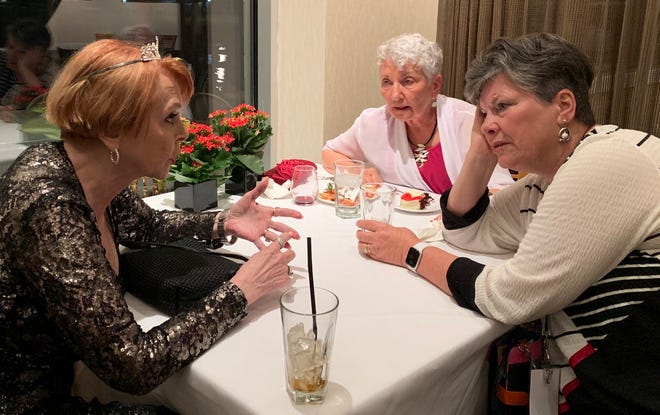 Roxanne Conlin, left, on the occasion of her 75th birthday, with Trudy Hurd, center, and Julie Gammack.