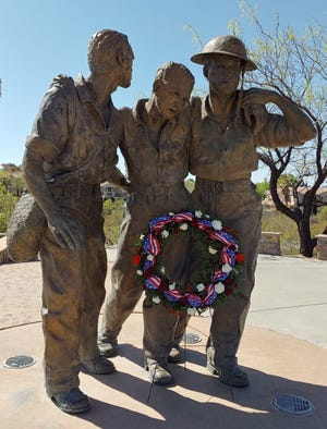 The Remember Bataan Foundation of Las Cruces laid a wreath at the memorial in Veterans Park Friday, April 9, 2021 in honor of the World War II heroes.