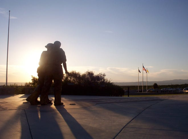 The Bataan Death March statue at Veterans Park in Las Cruces