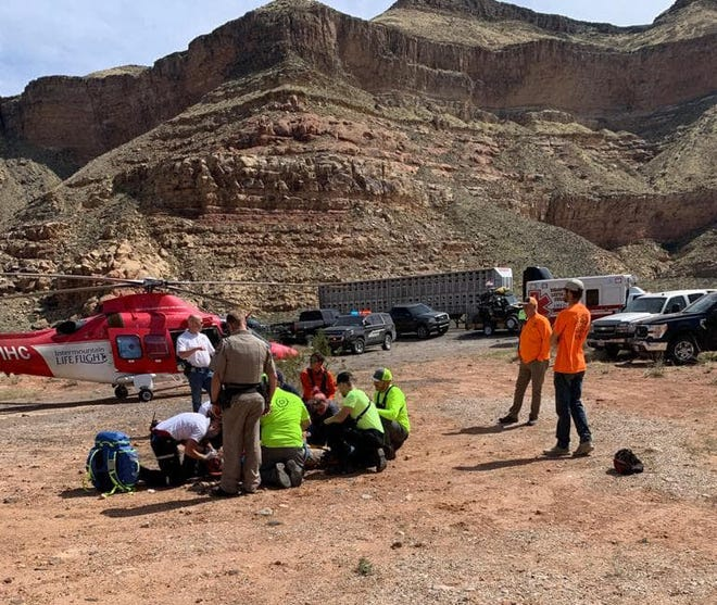 A BASE jumper was treated after his parachute failed on his second jump off a cliff near the Virgin River Gorge on the Arizona Strip near the Utah-Arizona border, April 11, 2021.