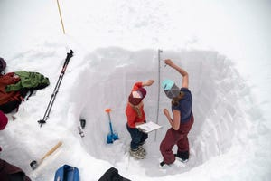 Researchers with the Long Term Ecological Research station at the University of Colorado's Mountain Research Station work on the 2019 snow survey in the Green Lakes Valley, which includes the Arikaree Glacier and provides a substantial portion of Boulder, Colorado's water supply.