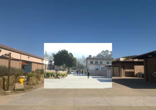 This photo illustration, created by Oak Park High School student Mina Jung, superimposes what Oak Park High School looked like earlier this year compared to the previous school year. Jung, the features editor for the high school's newspaper, Talon, created the image for a COVID-19 pandemic photo retrospective.