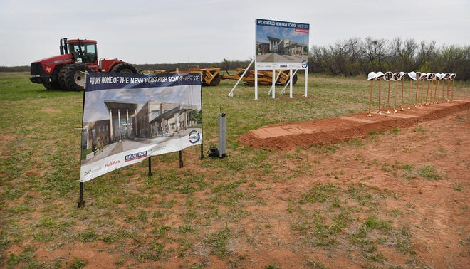 The West site of the two new Wichita Falls ISD high schools to be constructed is located to the North side of US Highway 82 near FM 369. WFISD held two groundbreaking ceremonies for the schools Monday.