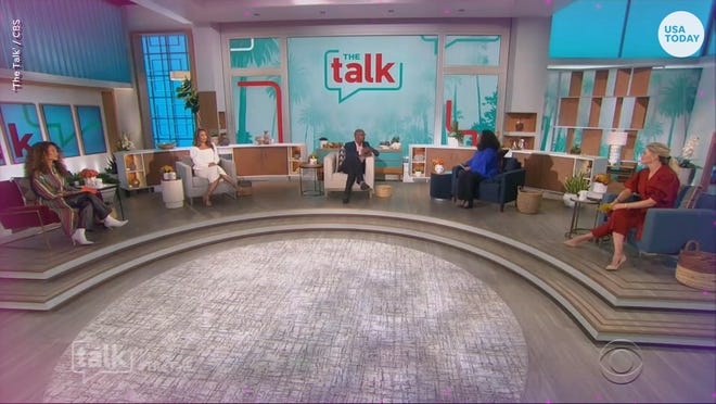 """""""The Talk"""" co-hosts Elaine Welteroth, from left, Carrie Ann Inaba, Sheryl Underwood and Amanda Kloots talk to diversity, equity, inclusion and justice advocate Donald Grant, center, on the April 12 episode of CBS' """"The Talk."""""""