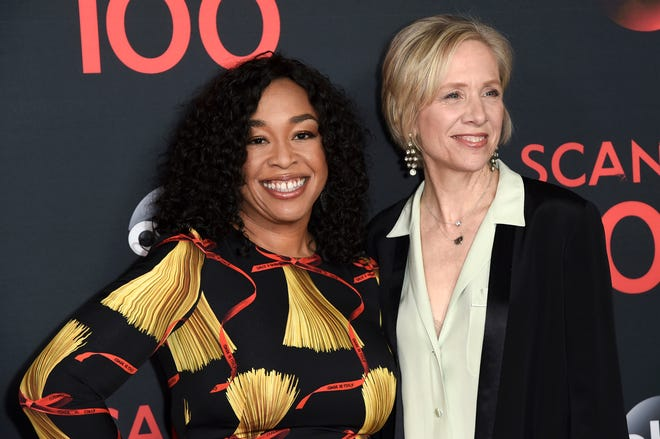 """Producers Shonda Rhimes, left, and Betsy Beers attend the """"Scandal"""" 100th Episode Celebration on April 8, 2017, in West Hollywood, Calif."""