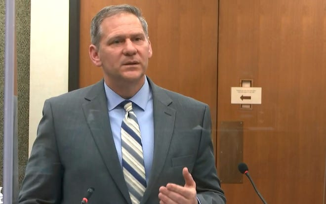 In this image from video, prosecutor Steve Schleicher speaks as Hennepin County Judge Peter Cahill discusses motions before the court Monday, April 12, 2021.