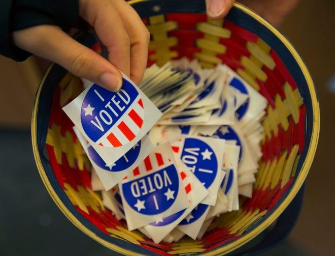 """I voted"" stickers on Nov. 3, 2020, in Eugene, Oregon."