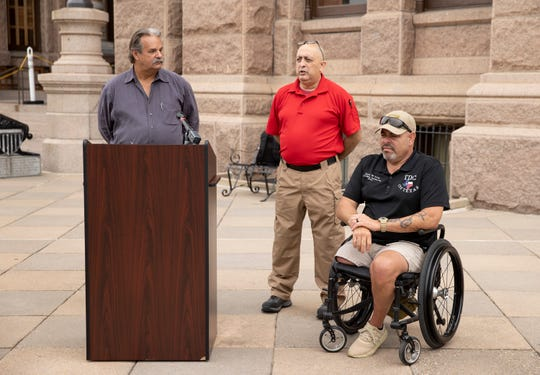 Firearm instructors Lon Krieger, left to right, Raul Camacho and Jorge De Leon speak against bills that would dismantle the Texas License to Carry program at news conference the Capitol on Tuesday April 13, 2021.