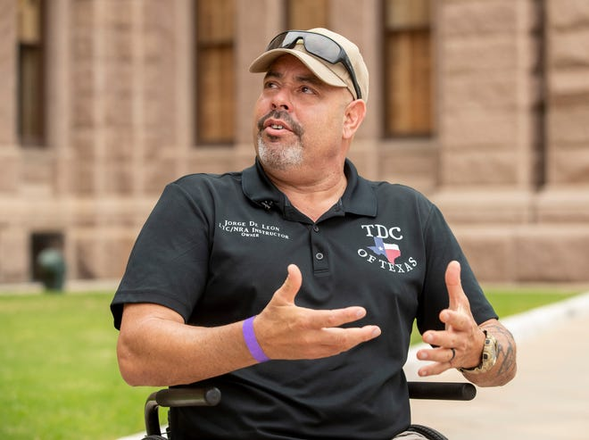 Firearm instructor Jorge De Leon speaks against bills that would dismantle the Texas License to Carry program at a news conference the Texas Capitol on April 13.
