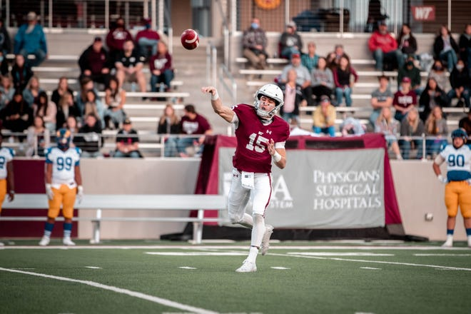 West Texas A&M quarterback Nick Gerber throws the ball during a game, Saturday, Oct. 24, 2020, against Angelo State at Buffalo Stadium in Canyon.