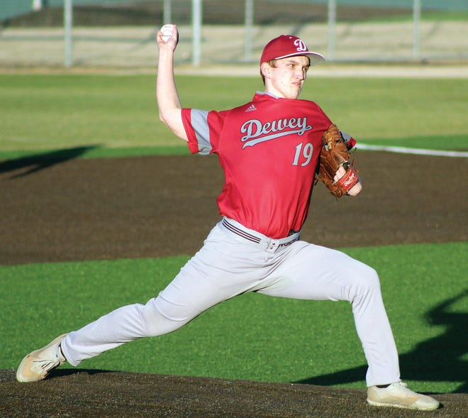 Colin Friend delivers a pitch for Dewey High during action earlier this season.