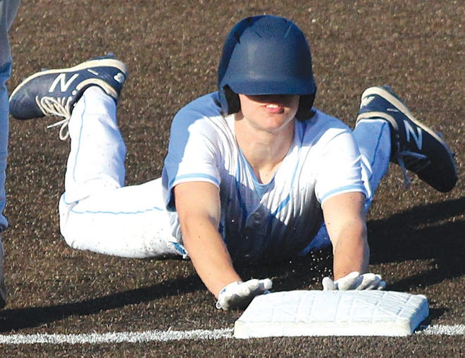 Hayden Catlin hustles into third base for the Bartlesville High baseball team.