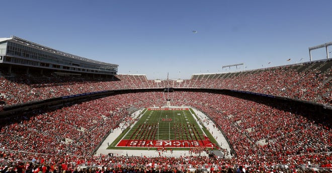 Over 100,000 fans set a national attendance record during the Spring Game at Ohio Stadium in Columbus on Saturday, April 16, 2016. (Barbara J. Perenic/The Columbus Dispatch)