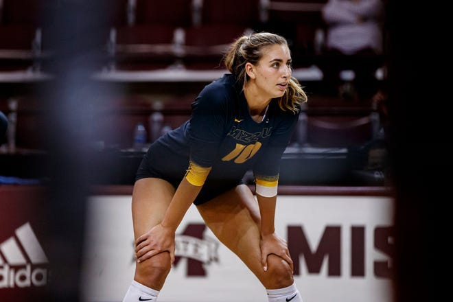 Missouri middle blocker Anna D'Cruz (10) looks on during a match against Mississippi State on March 24 at the Newell-Grissom Building in Starkville, Miss.