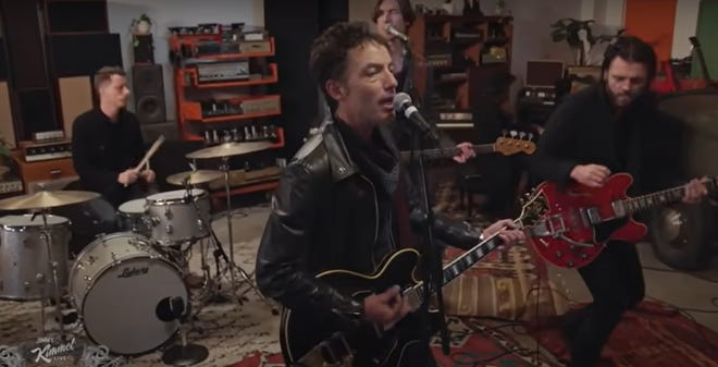 """The Wallflowers performing """"Roots and Wings"""" on Jimmy Kimmel Live, featuring Mark Stepro on drums."""