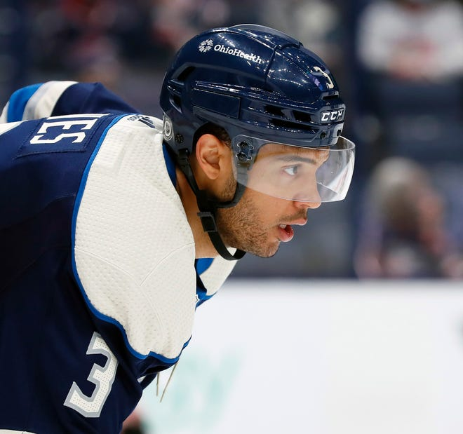 Columbus Blue Jackets defenseman Seth Jones (3) waits for the puck to drop against Chicago Blackhawks during the second period of their NHL game at Nationwide Arena in Columbus, Ohio on April 12, 2021.