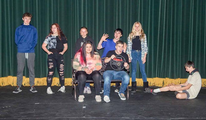 """Area high school students who won """"15 Tens"""" Short Play Contest by the Depot Theater Company, participate in the filming of their winning plays in Dodge City recently."""