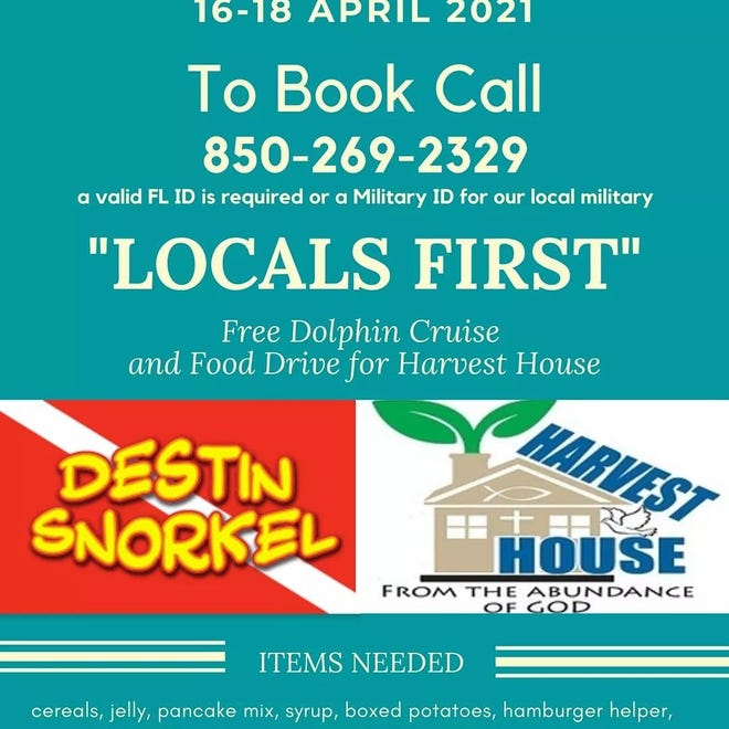 Destin Snorkel is offering locals free Dolphin Cruises April 16-18. Reservations are being taken.
