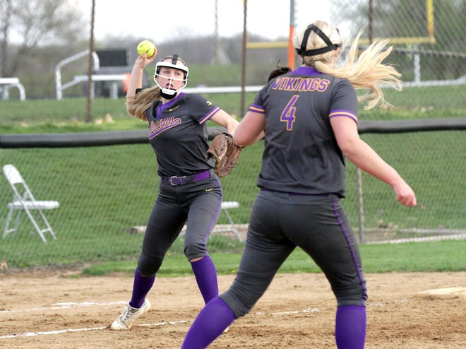 Addison Harris fires over to first base to record an out for Bronson on Monday.