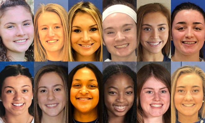 The Erie Times-News District 10 Girls Basketball Big School First Team is, top from left, Warren's Riley Childress, Villa Maria's Carissa Dunham and Rachel Majewski, Warren's Emma Ruhlman, McDowell's Emina Selimovic and Villa Maria's Ava Waid. The Big School Second Team is, bottom from left, Slippery Rock's Anna Kadlubek, McDowell's Sydney Keinath, Villa Maria's Jayden McBride, Erie's Torreuna Roberts, Grove City's Becca Santom and Villa Maria's Ainsley Thunell.