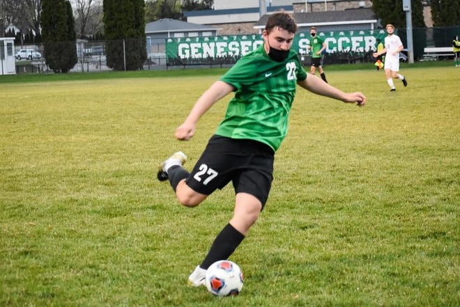 Mitch Wirth is also part of the defense on the Geneseo boys' soccer defense.