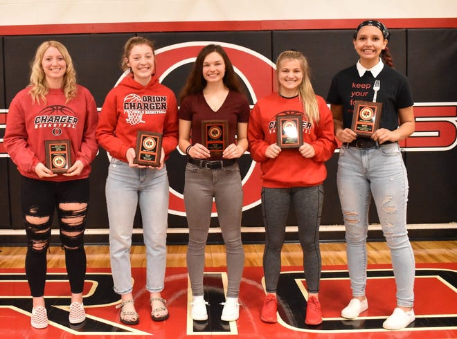 Orion varsity girls basketball players receiving awards on Monday, March 22, are, from left, Jenna Drish, Most Improved Player; Riley Filler, Legacy Award; Jennie Abbott, Sportsmanship; Marly Lillibridge, Best Defense, and Hailey James, Most Valuable Player.