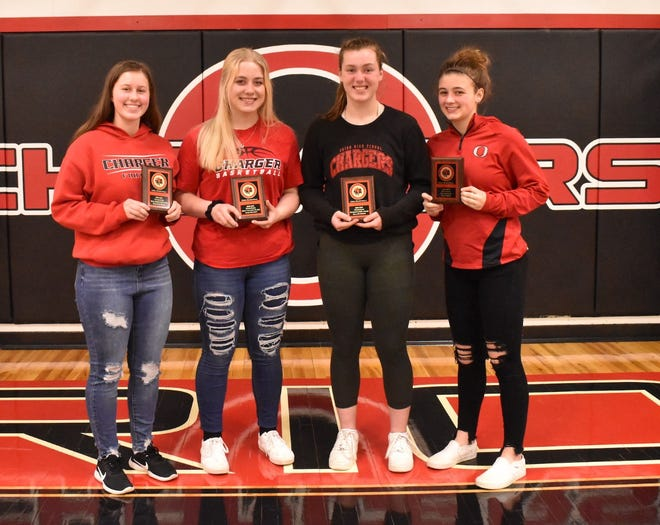 Orion sophomore basketball players taking home awards on Monday, March 22, are, from left, Kayleigh Kovac, Most Improved Player; Adah Swanson, Most Valuable Player; Ella Sundberg, Sportsmanship, and Mary Mohr, Best Defensive Player