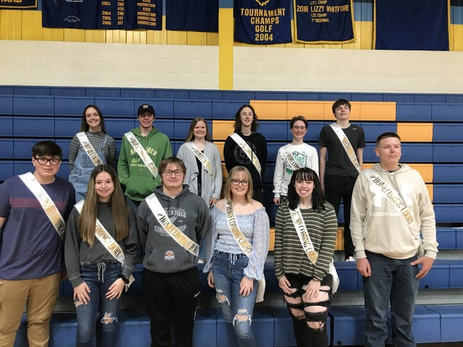 Pictured in front from left, Spencer Sumner and Chloe Ruhl, freshman candidates; Jett Olson and Jaden Wilson, sophomore candidates; Savannah Platt and T.J. Conner, junior candidates.  Senior candidates in the back from left, Bailey Bates, Cal Clucas, Taylor Warner, Ben Smith, Abigail Jones and Michael Hawes