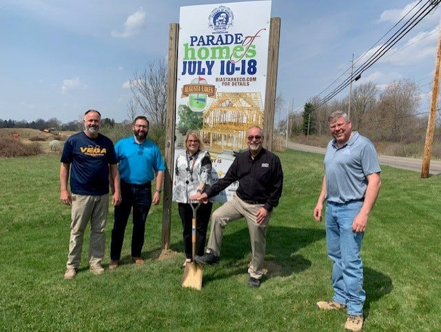 The annual Parade of Homes event is slated from July 10-18 at Augusta Lakes subdivision in Massillon. The event showcases the newest home construction trends and highlights Northeast Ohio builders. A groundbreaking ceremony at Augusta Lakes was held last week. Pictured are members of the Building Industry Association of Stark County & East-Central Ohio, in addition to Mayor Kathy Catazaro-Perry (center).